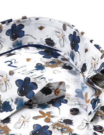 R2 business overhemd Tailored Fit 114.WSP.045/014 in het Wit/Beige