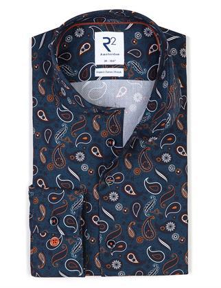 R2 business overhemd Tailored Fit 114.WSP.050/014 in het Blauw