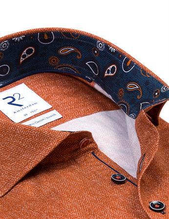 R2 business overhemd Tailored Fit 114.WSP.051/095 in het Oranje