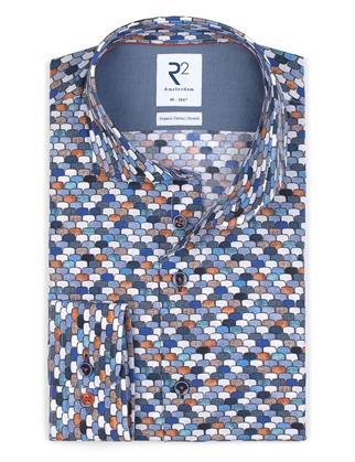R2 business overhemd Tailored Fit 114.WSP.053/014 in het Wit/Beige