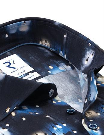 R2 business overhemd Tailored Fit 114.WSP.057/014 in het Donker Blauw