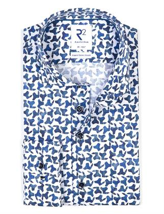 R2 business overhemd Tailored Fit 114.WSP.066/014 in het Wit/Blauw