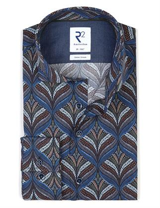R2 business overhemd Tailored Fit 114.WSP.083/010 in het Marine