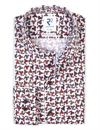 R2 business overhemd Tailored Fit 114.WSP.098/080 in het Bordeaux