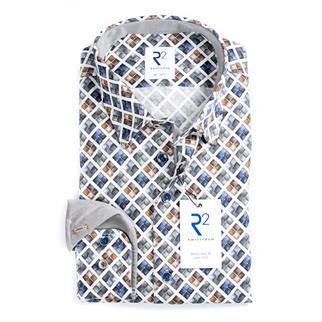 R2 casual overhemd Tailored Fit 110.HBD.039/014 in het Hemels Blauw