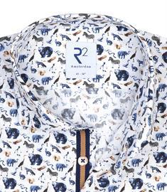 R2 casual overhemd Tailored Fit 110.WSP.045/014 in het Hemels Blauw