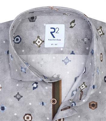 R2 casual overhemd Tailored Fit 110.WSP.081/028 in het Grijs