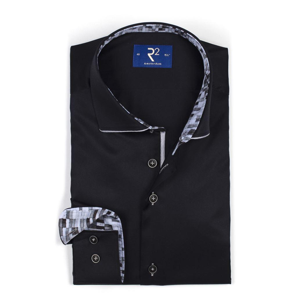 R2 overhemd 103wso025 in het Zwart
