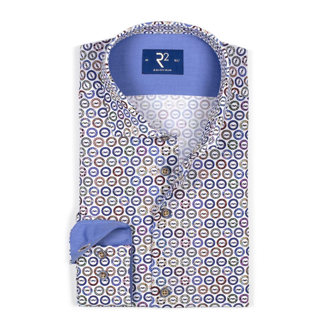 R2 overhemd 103wsp013 in het Multicolor