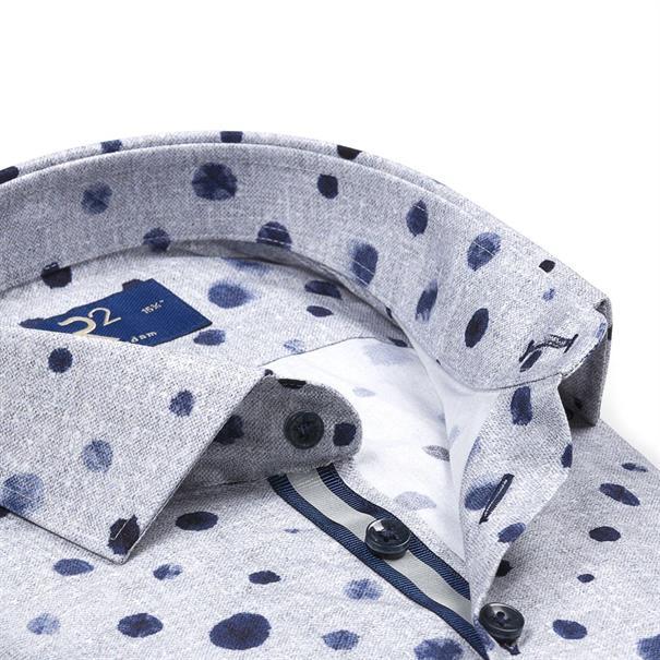 R2 overhemd 106wsp072/028 in het Grijs