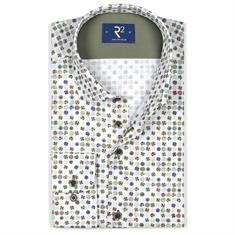 R2 overhemd Modern Fit 104wsp014/074 in het Wit/Groen