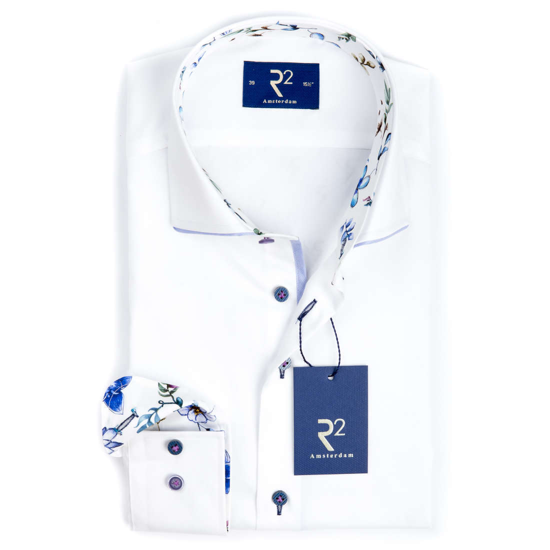 R2 overhemd Modern Fit 104wsp015/004 in het Wit
