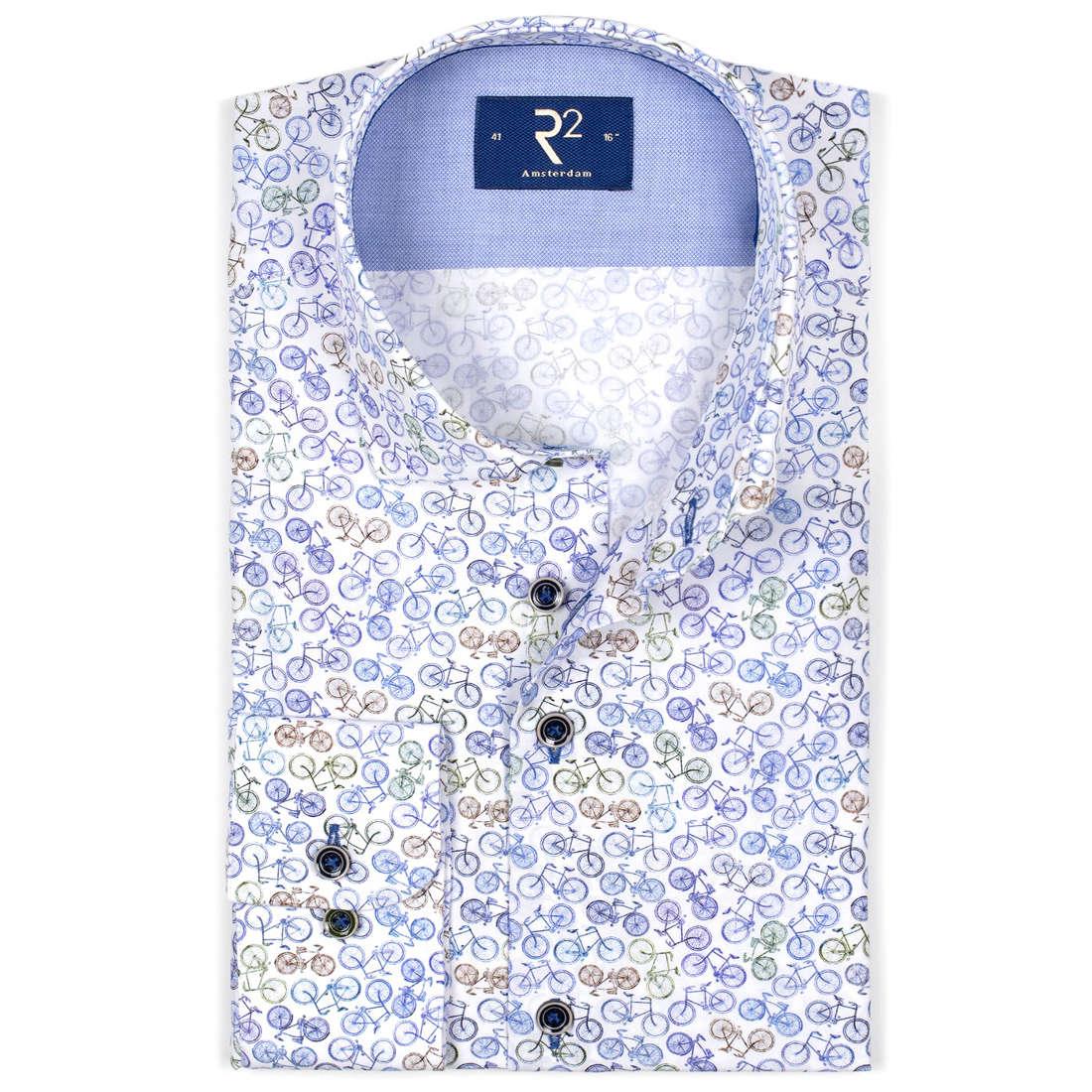 R2 overhemd Modern Fit 104wsp052/014 in het Multicolor