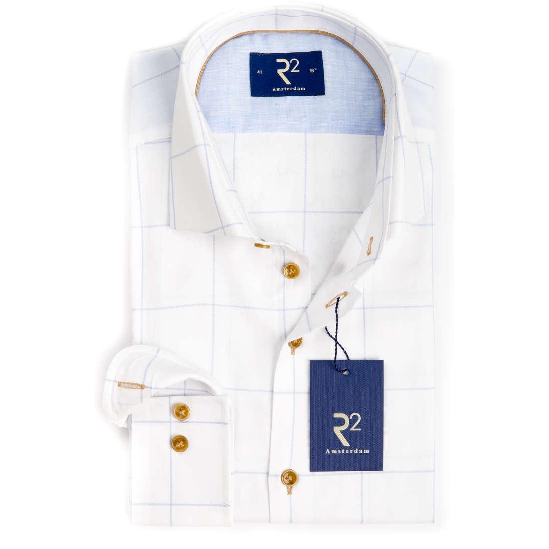 R2 overhemd Modern Fit 104wsp091/018 in het Wit/Blauw