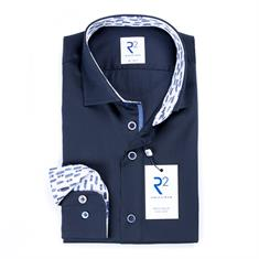 R2 overhemd Tailored Fit 108.wsp.173/010 in het Donker Blauw