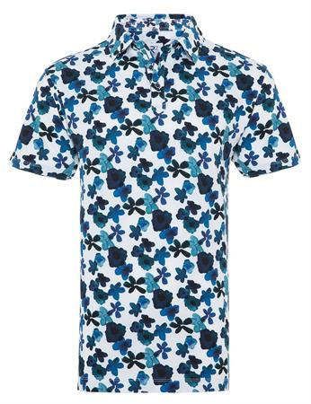 R2 polo's Slim Fit 112.POLO.022/014 in het Wit/Blauw