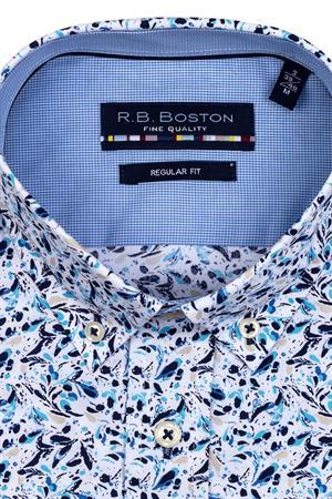 RB Boston overhemd Regular Fit 116670 in het Wit/Blauw