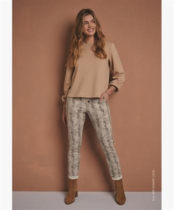 Red Button pantalons 2914 Tessy camour in het Beige