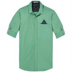 Scotch & Soda casual overhemden Slim Fit 142611 in het Mint Groen
