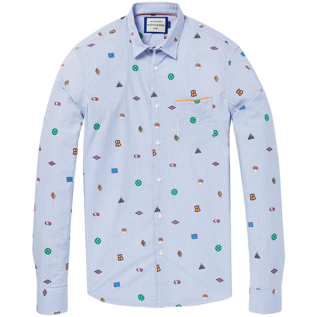 Scotch & Soda overhemd 145424 in het Licht Blauw