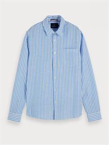 Scotch & Soda overhemd Slim Fit 155142 in het Wit/Blauw