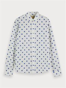 Scotch & Soda overhemd Slim Fit 155162 in het Wit/Blauw