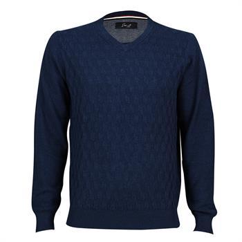 Smit Mode v-hals trui 928114-8 in het Donker Blauw