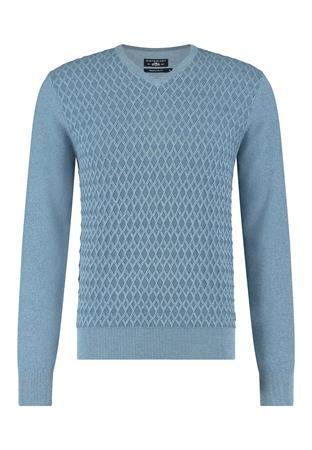 State of Art v-hals trui Regular Fit 11111130 in het Hemels Blauw