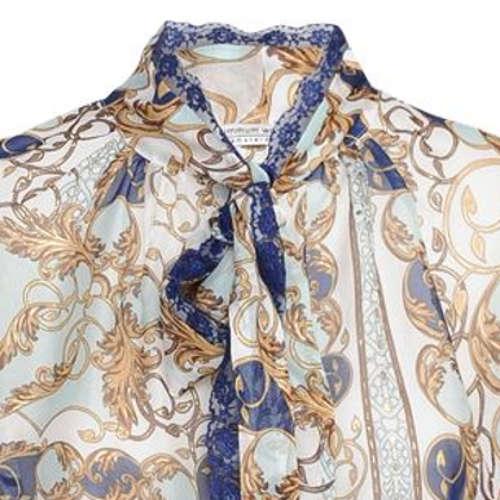 Summum blouse 2s2303-10959 in het Wit/Blauw
