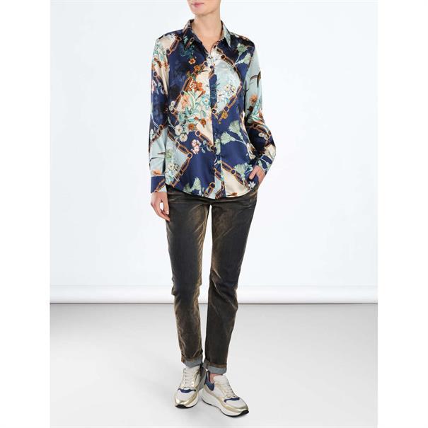 Summum blouse 2s2329-10961 in het Wit/Blauw