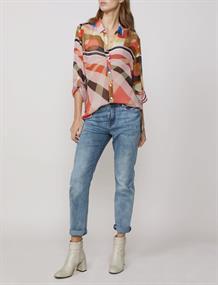 Summum blouse 2s2410-11104 in het Wit/Blauw