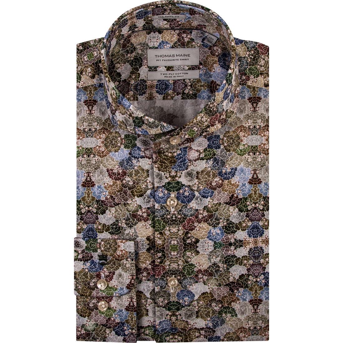 Thomas Maine overhemd Tailored Fit 91-7769 in het Groen