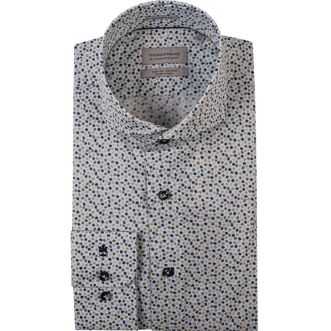 Thomas Maine overhemd Tailored Fit 91-7775 in het Wit/Groen