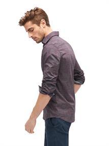 Tom Tailor casual overhemden 20337780010 in het Donker Rood