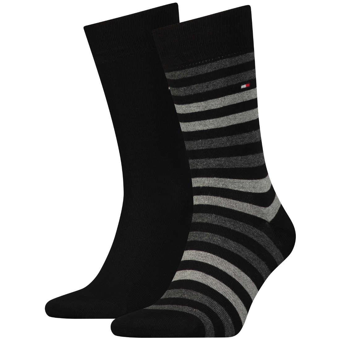 Tommy Hilfiger Sokken streep 2-pack zwart