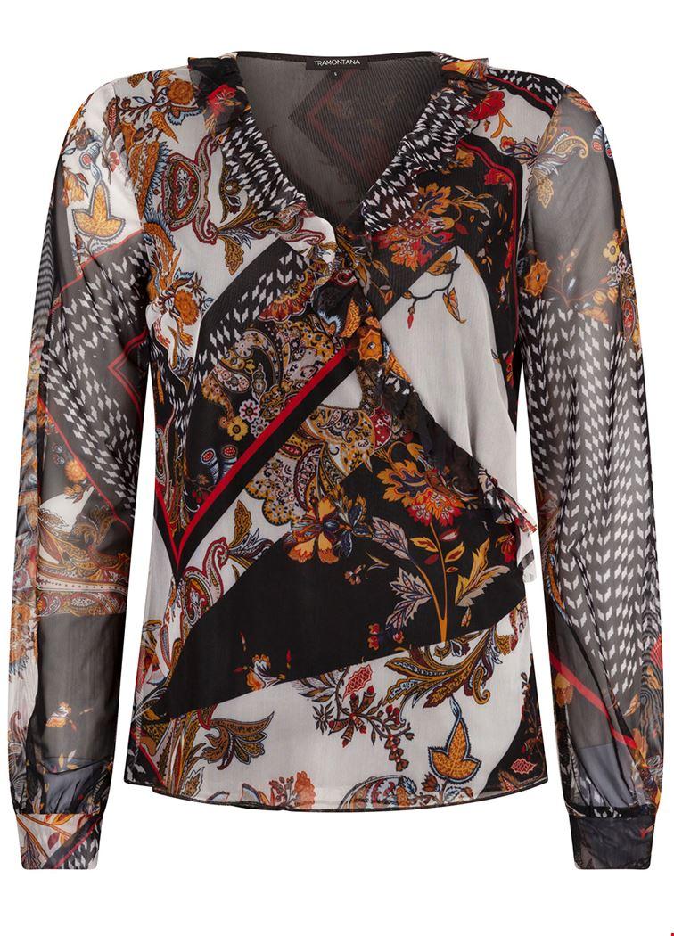 Smit Mode Tramontana blouse c01 92 401 in het Zwart Wit