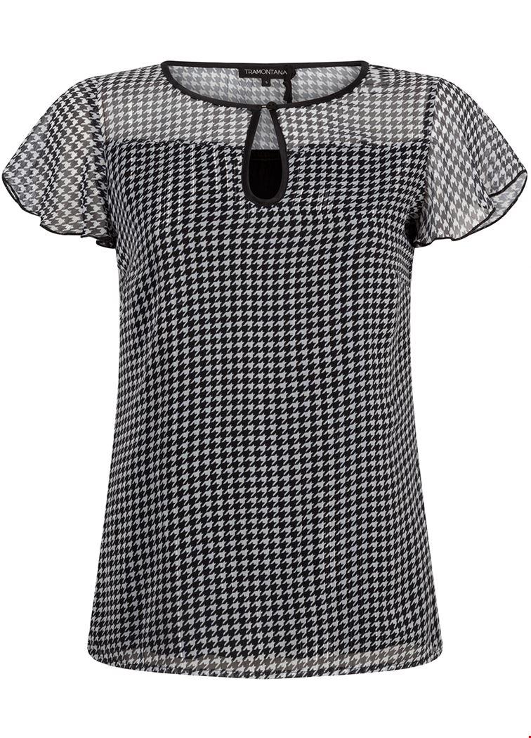Smit Mode Tramontana blouse c06 92 302 in het Zwart Wit