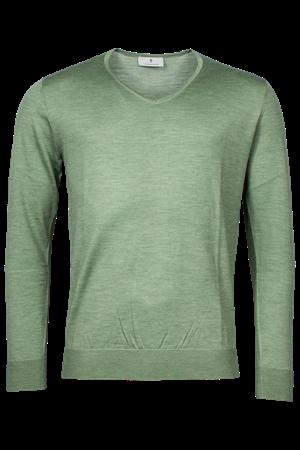 v-hals trui Tailored Fit 1081TM100 in het Licht Groen