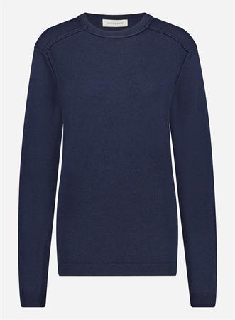 Wool & Co ronde hals trui WO-0205 in het Donker Blauw