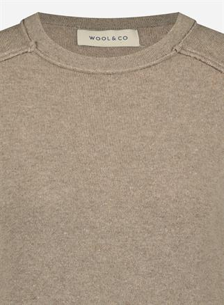 Wool & Co ronde hals trui WO-0205 in het Taupe